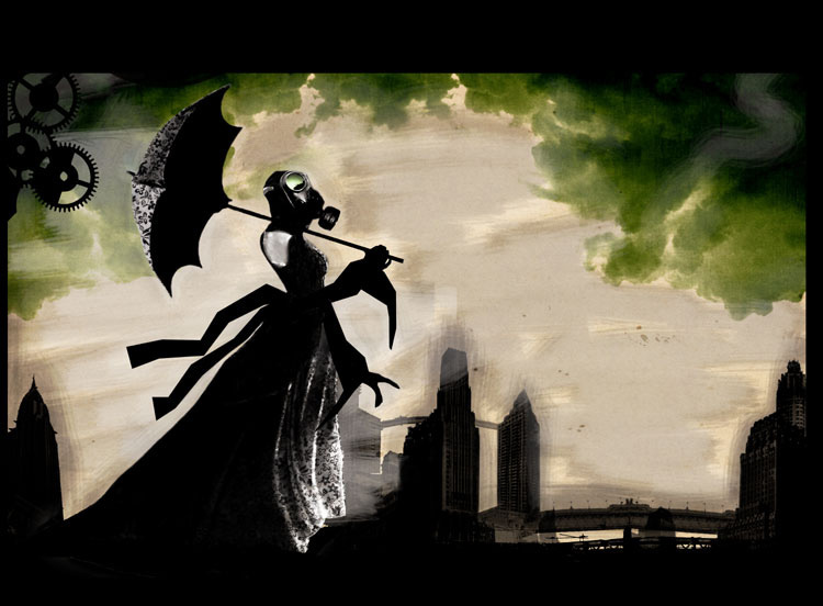 L Ombrelle girl with gas mask and umbrella