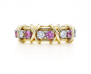 pink sapphires diamonds yellow gold
