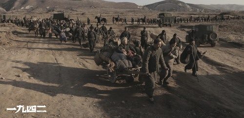 marching refugees fleeing Japanese army