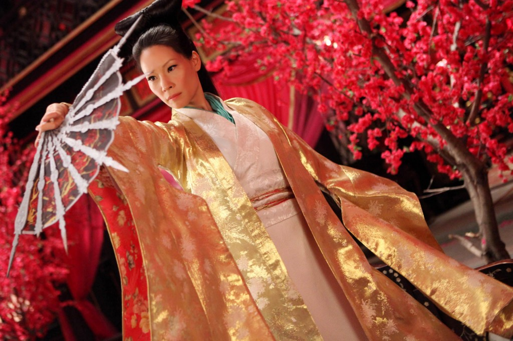 Lucy Liu pink blossom whorehouse brothel cherry set design
