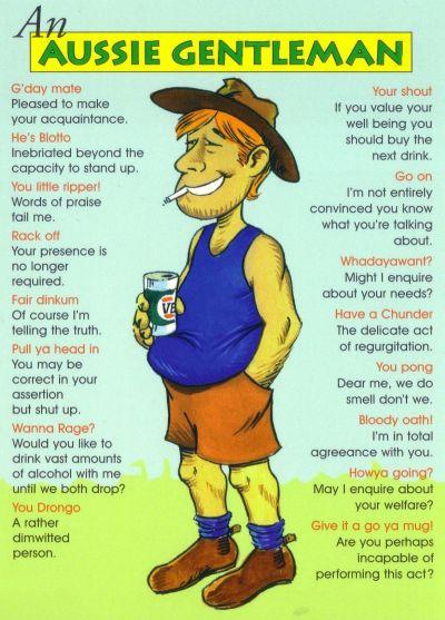 aussie man lingo jargon slang