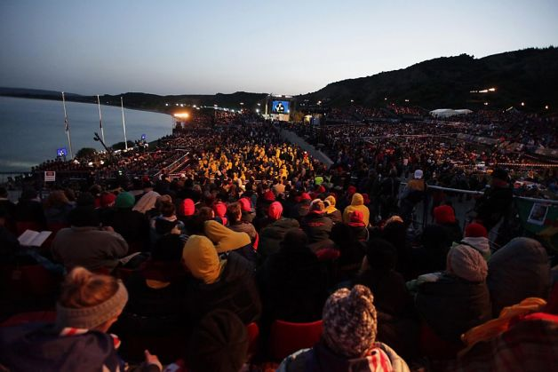 crowds bleachers mess dawn service overcrowded