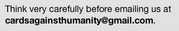 cards against humanity email warning