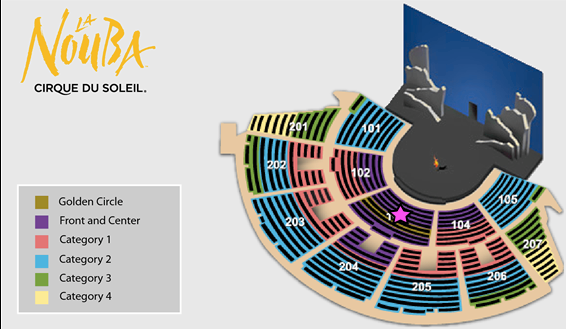 Seating chart plan for La nouba cirque du soleil Orlando