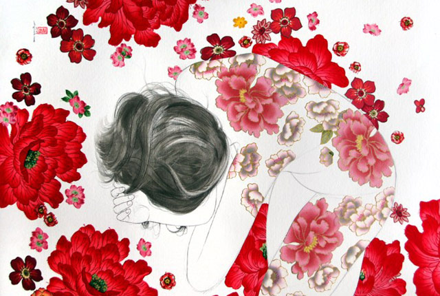 small blush pintura-tela-flores