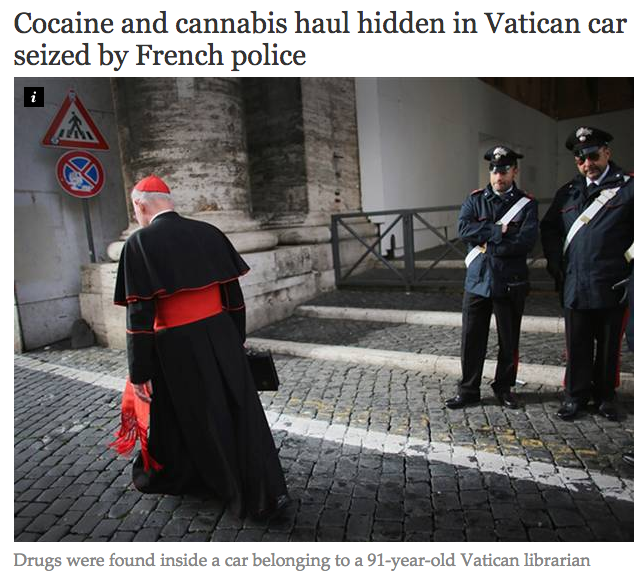 cocaine and cannabis hidden in vatican car