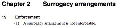 qld surrogacy act unenforceable