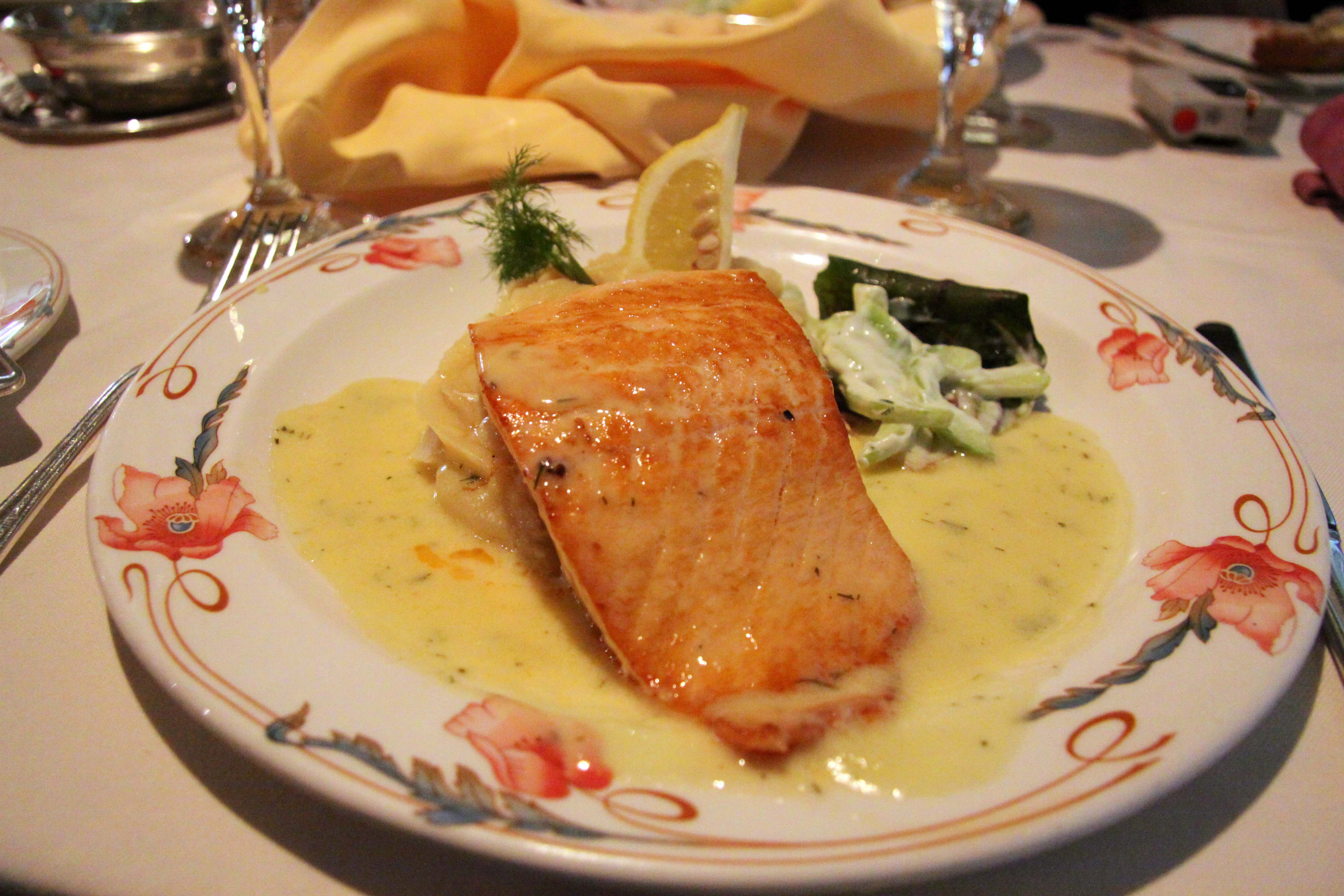 Atlantic Salmon with Garlic Mash and Dill Butter Sauce