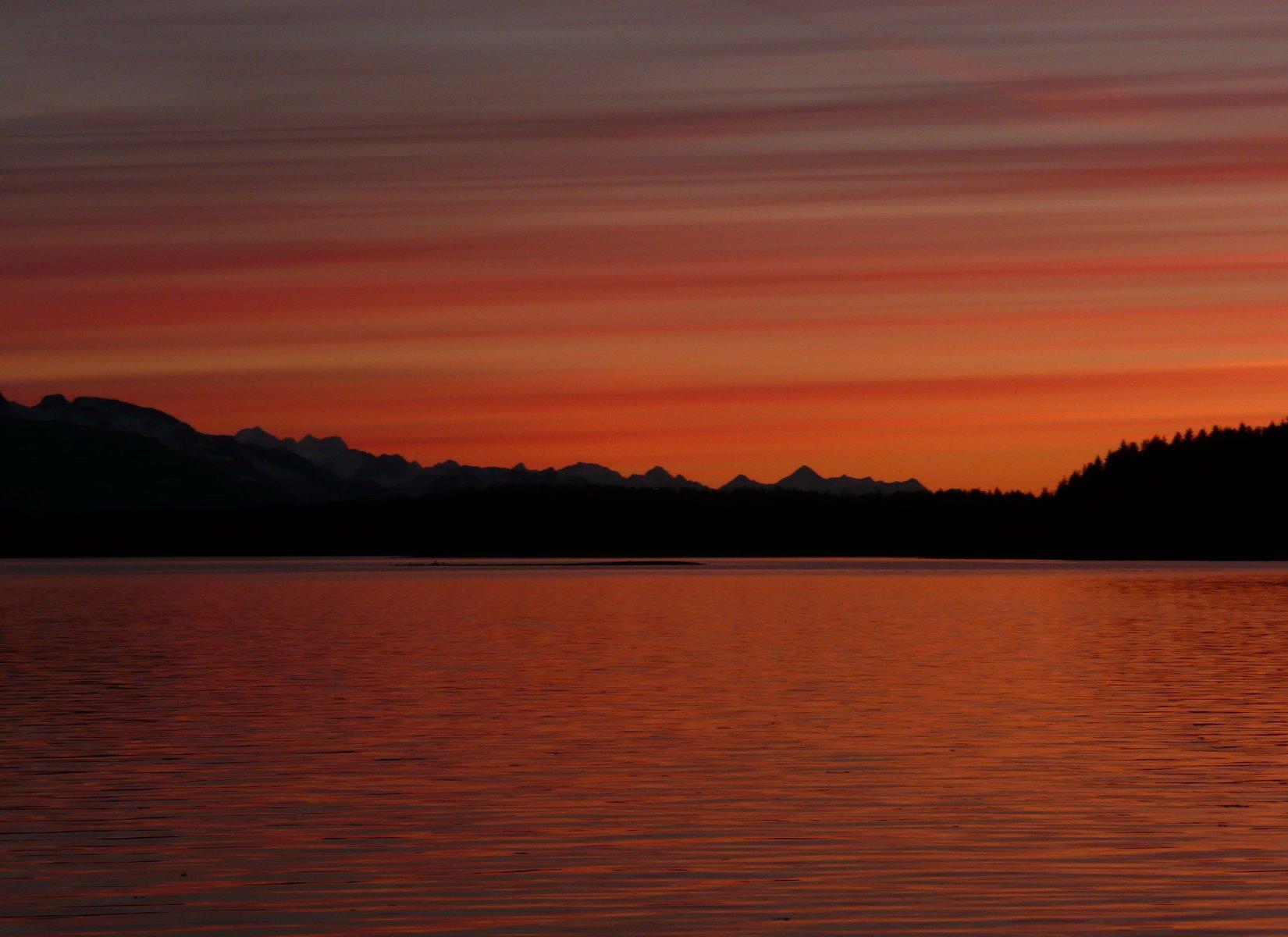 Sunset over the Beardslee Islands.