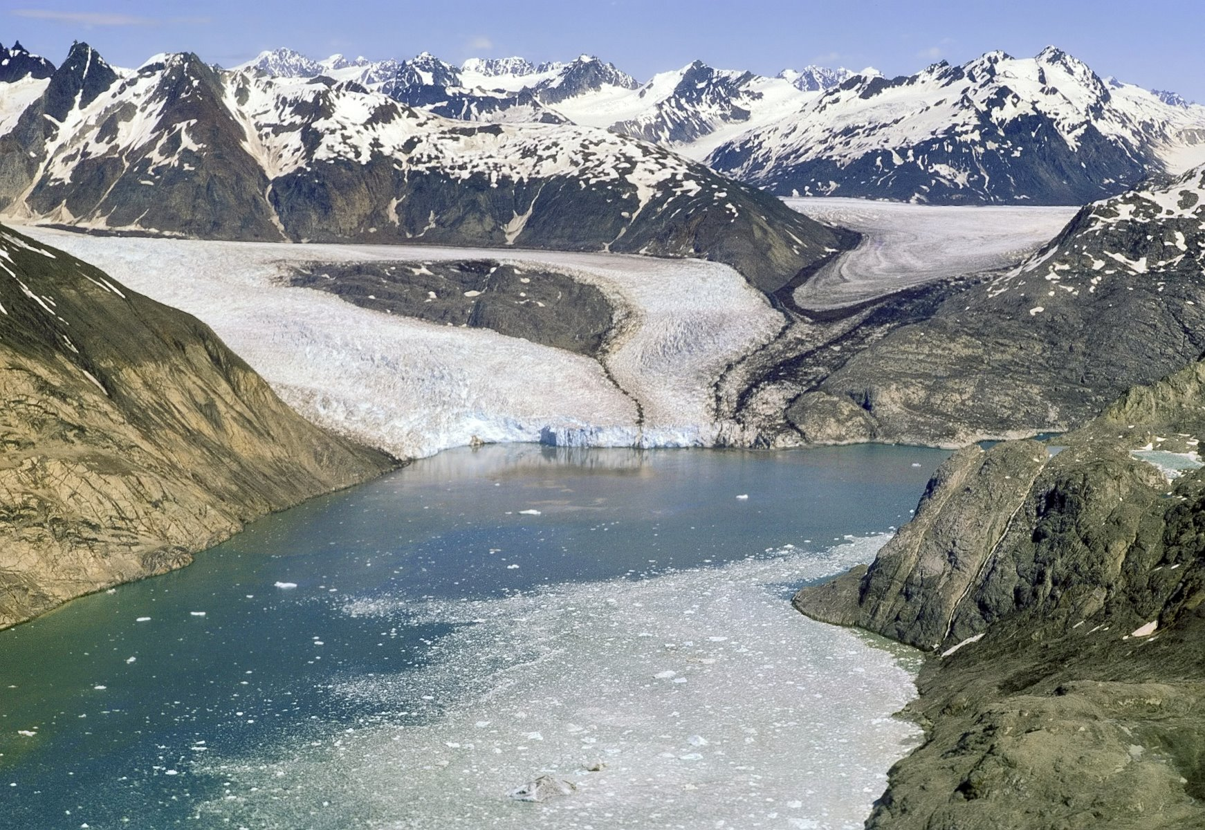 Riggs Glacier's tidewater front separated from Muir's in 1961 and was still calving into the sea in 1967.