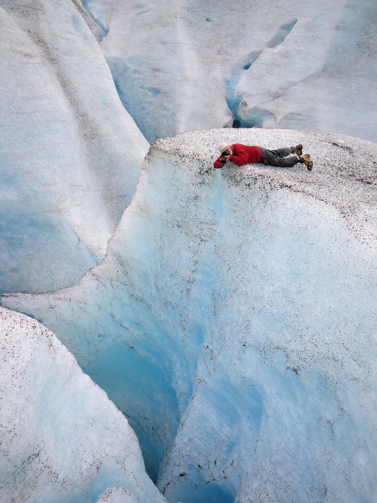 Clear blue ice and big crevasses!