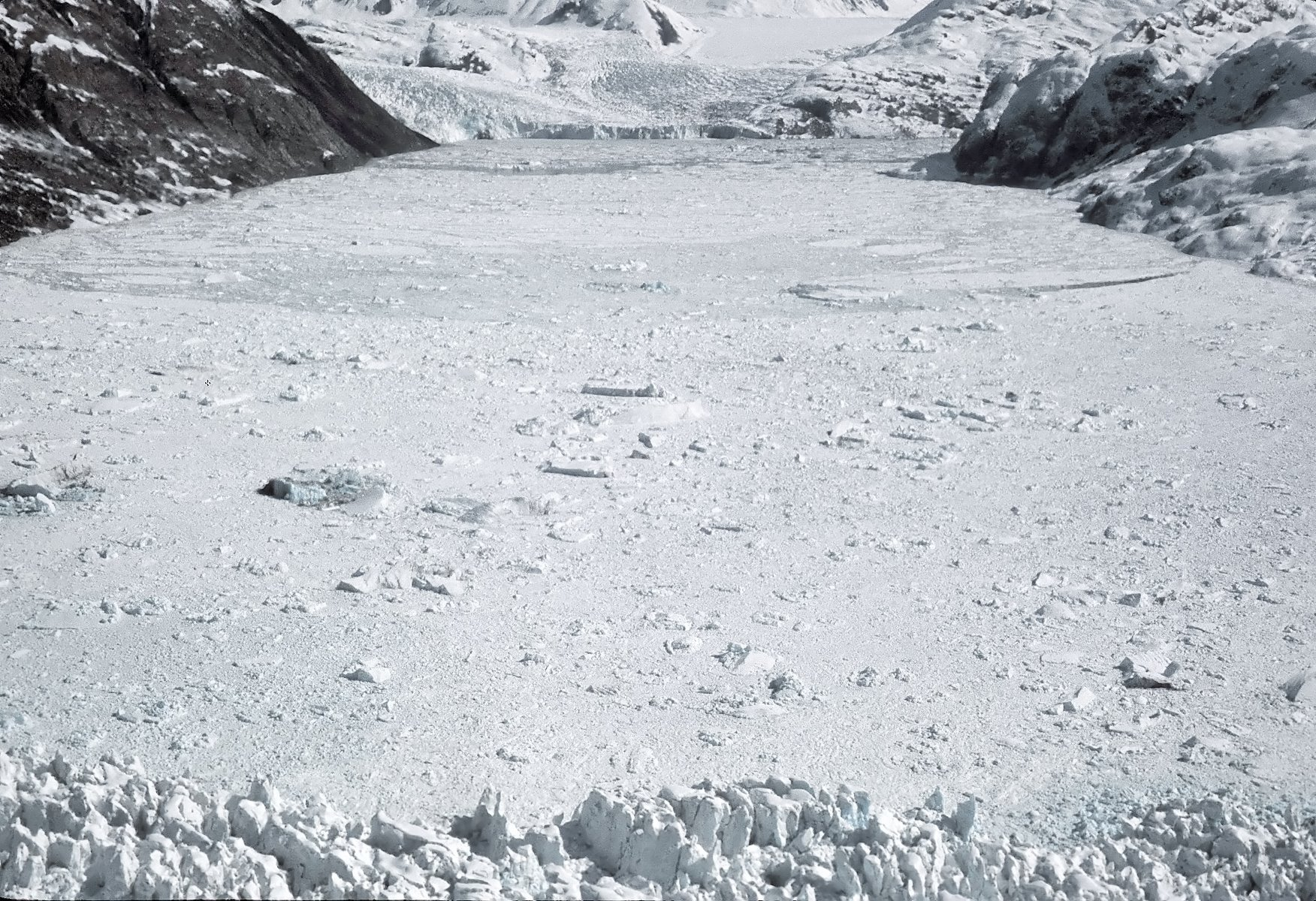 Aerial view from over Muir Glacier on April 11, 1968