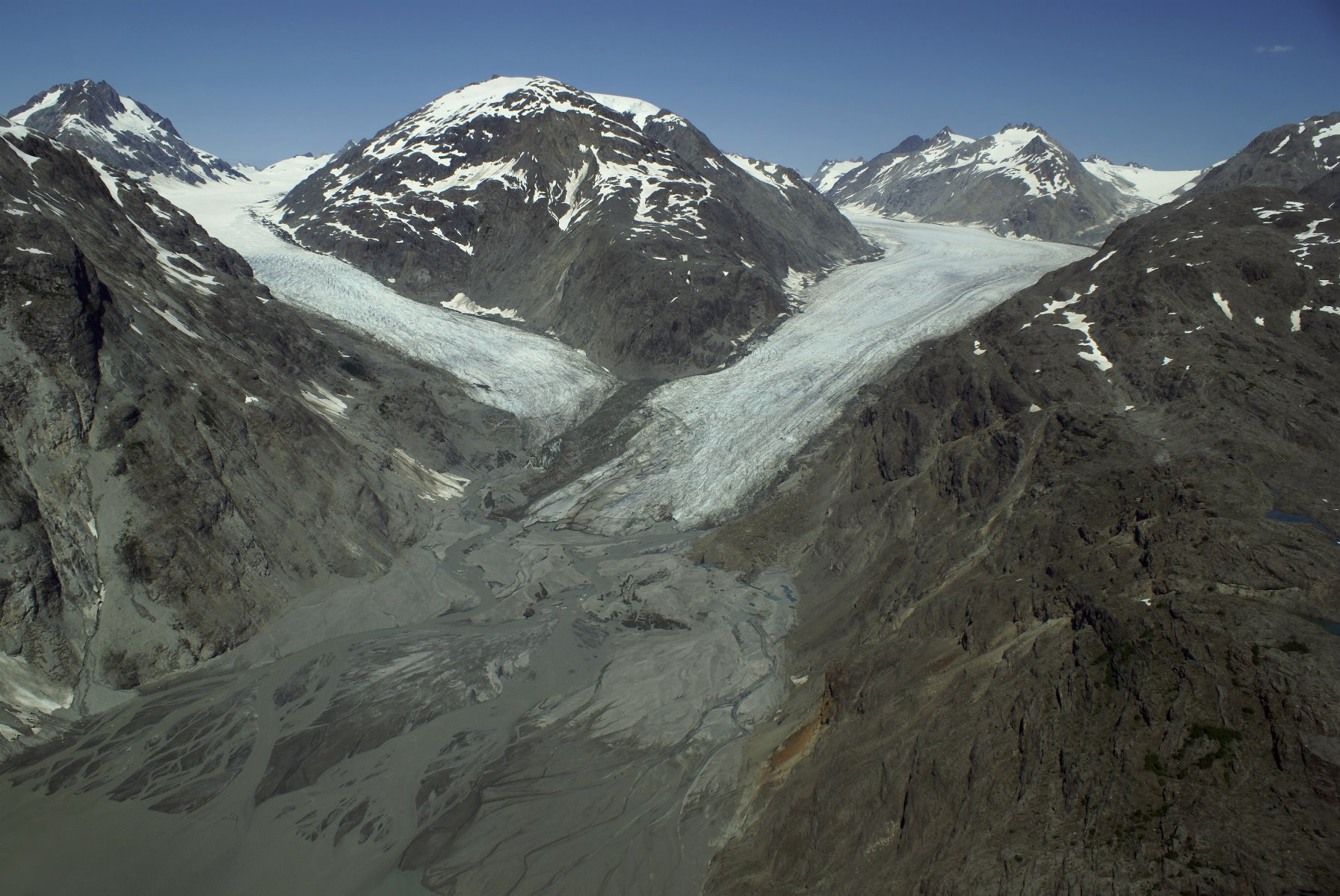 Muir Glacier in 2007 is no longer a tidewater glacier; it has retreated.