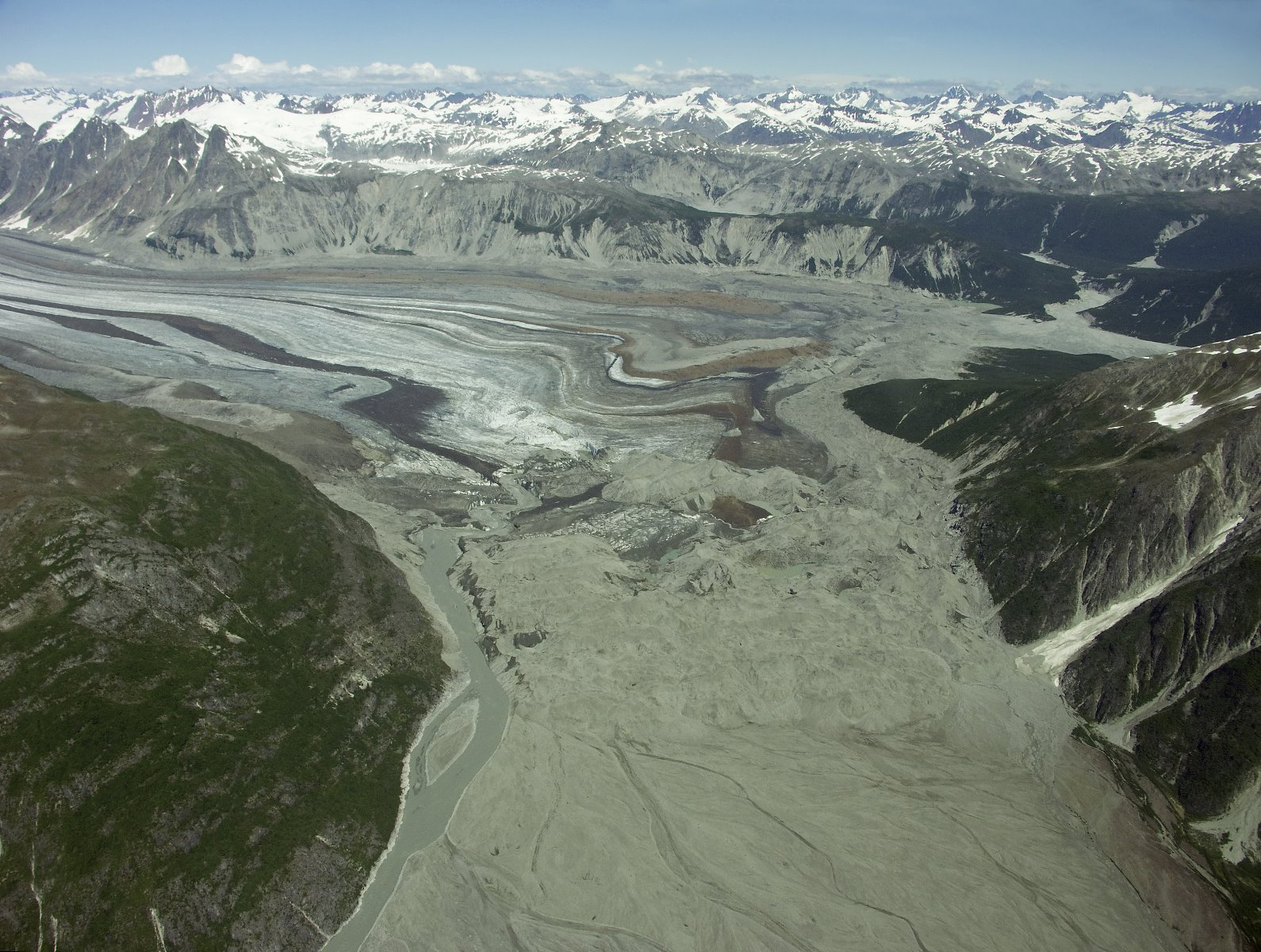 Carroll Glacier's many medial moraines.
