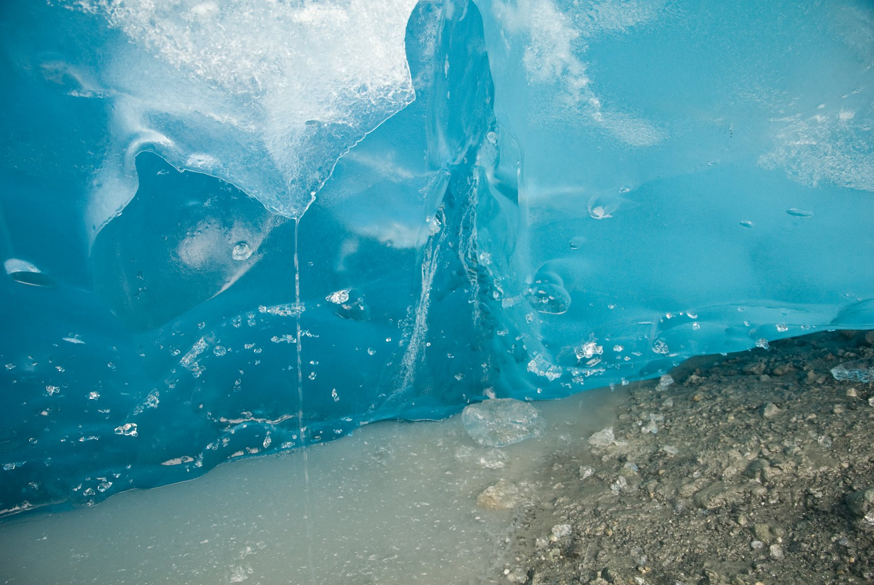 Close shot of Reid Glacier's vibrant blue colours.