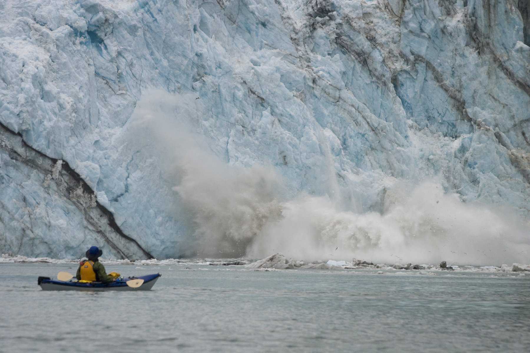 The U.S. Coast Guard recommends that all vessels remain one quarter mile off the face of tidewater glaciers.