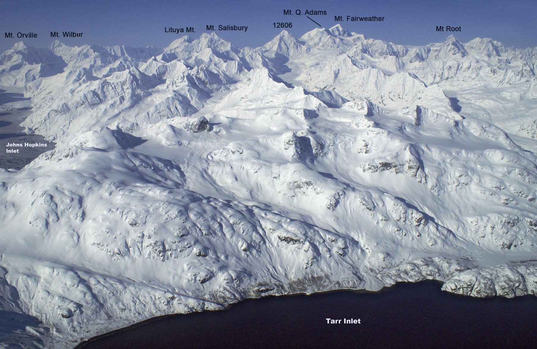 Many peaks of Glacier Bay are unnamed or informally named due to an early decree of park superintendents.