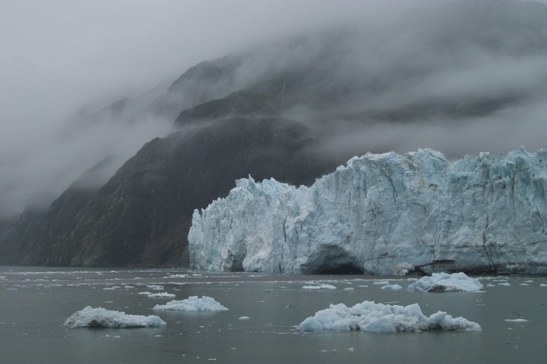 Glaciers shrouded in mist at Glacier Bay.