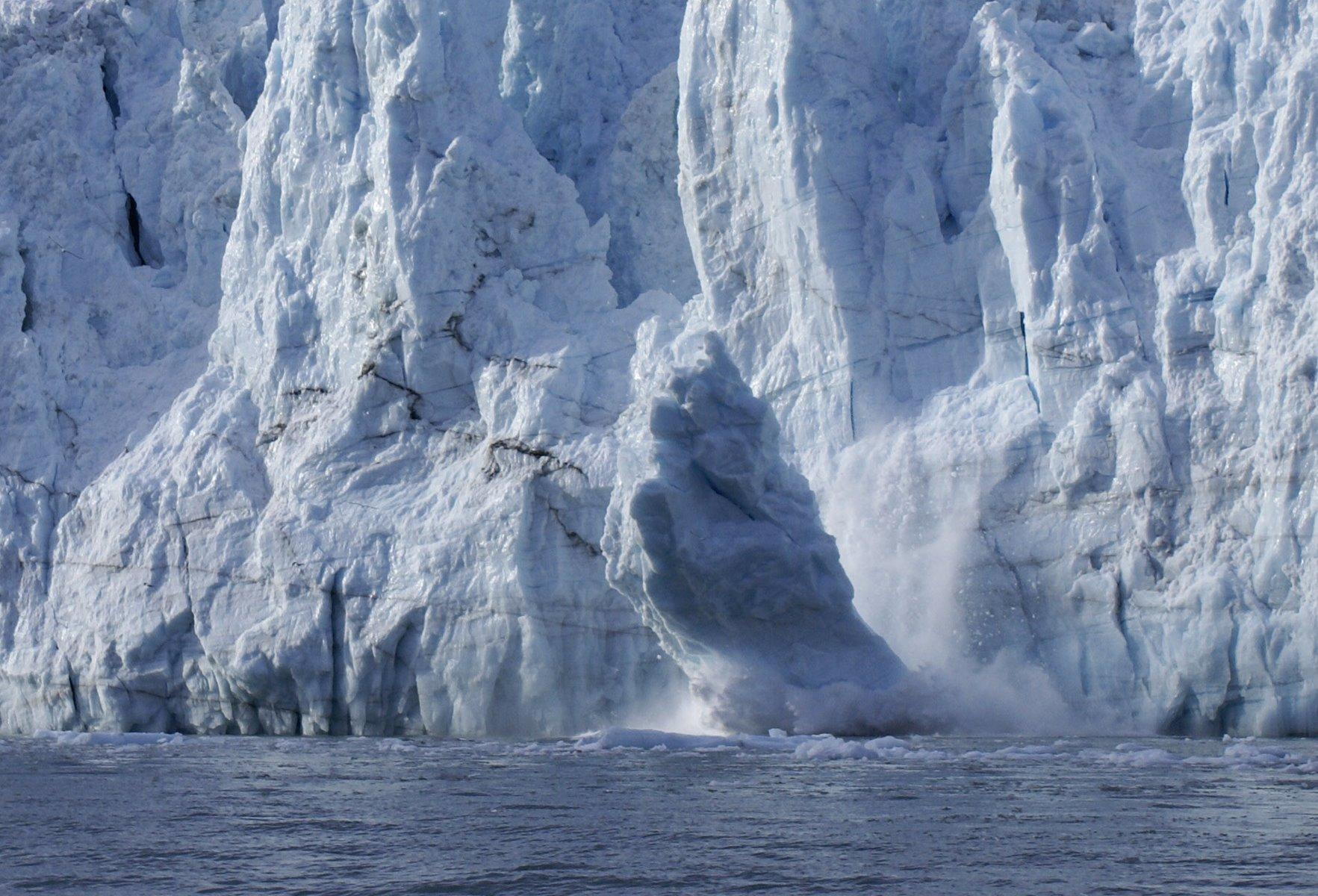 Margerie Glacier calving.