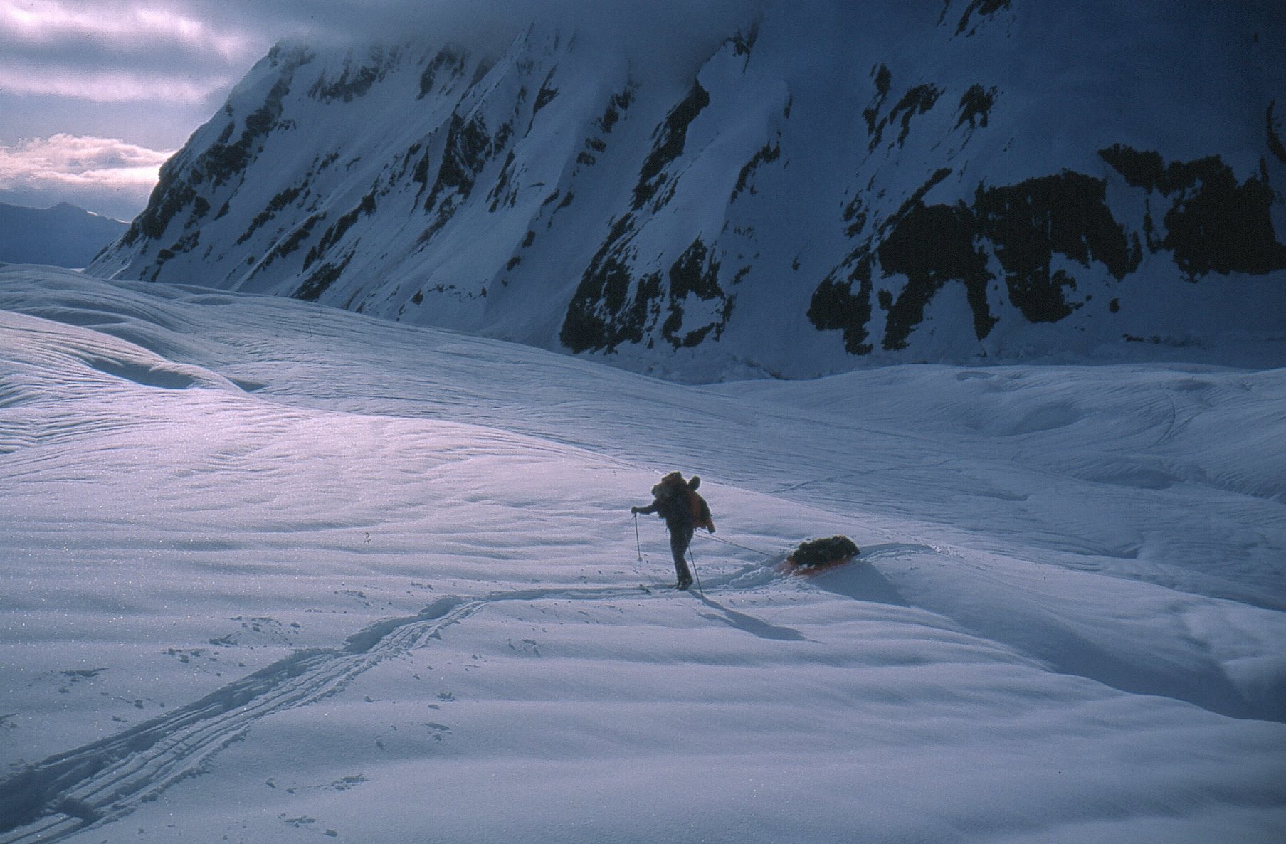 Skiing on the Grand Plateau Glacier, Mt Fairweather.