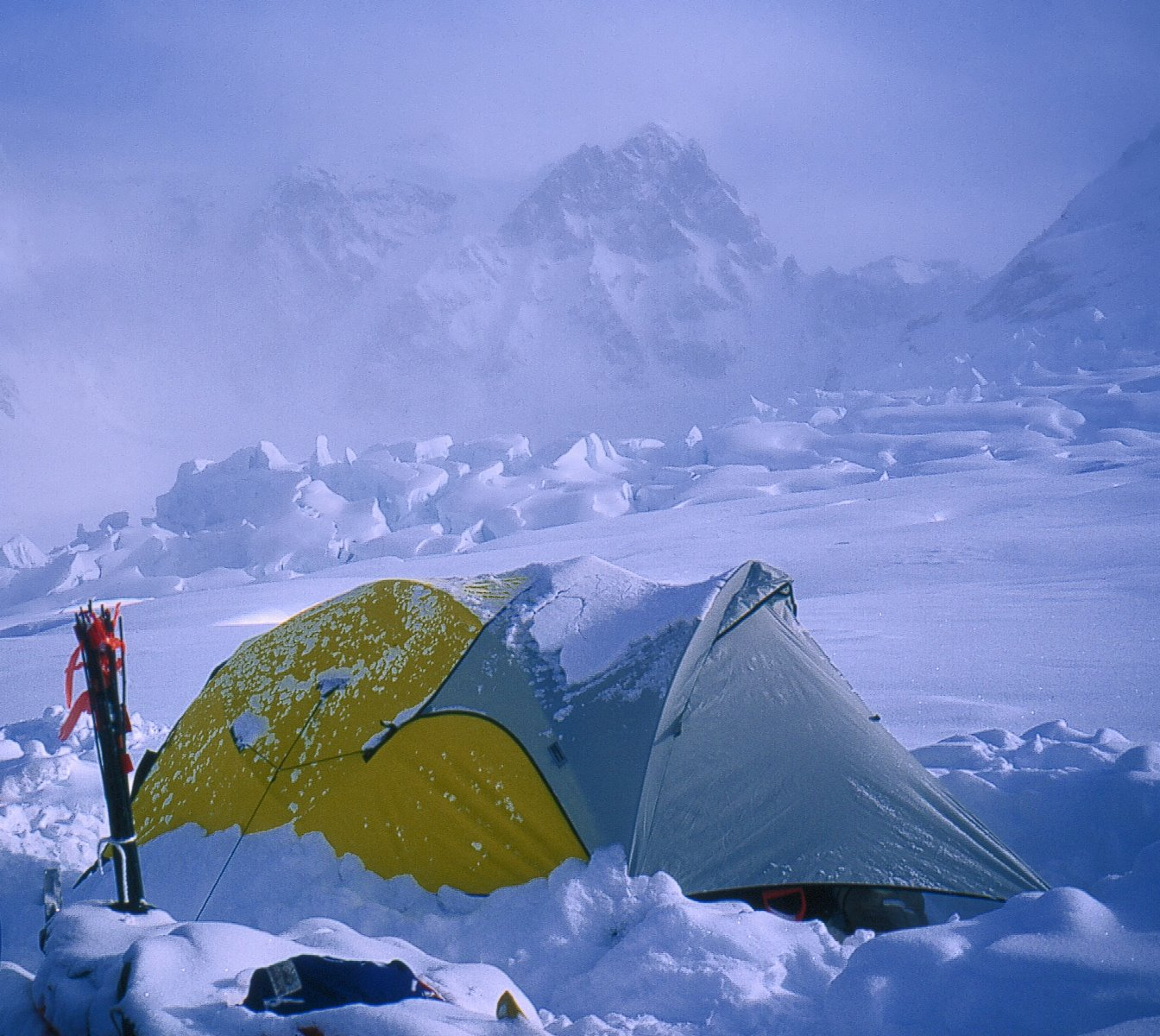 Camp at the top of the icefall, Grand Plateau Glacier, 6700 feet elevation, on the northwest slopes of Mt. Fairweather.