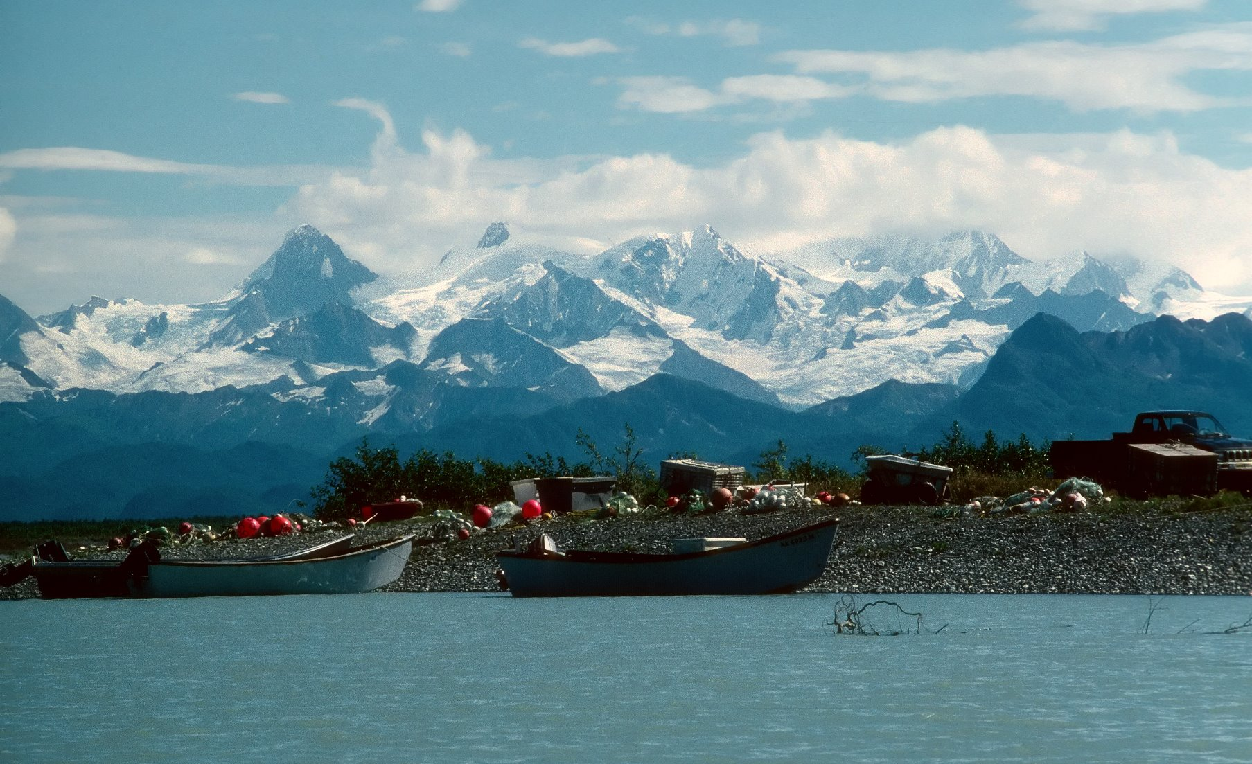 The Tatshenshini-Alsek river ends in Dry Bay