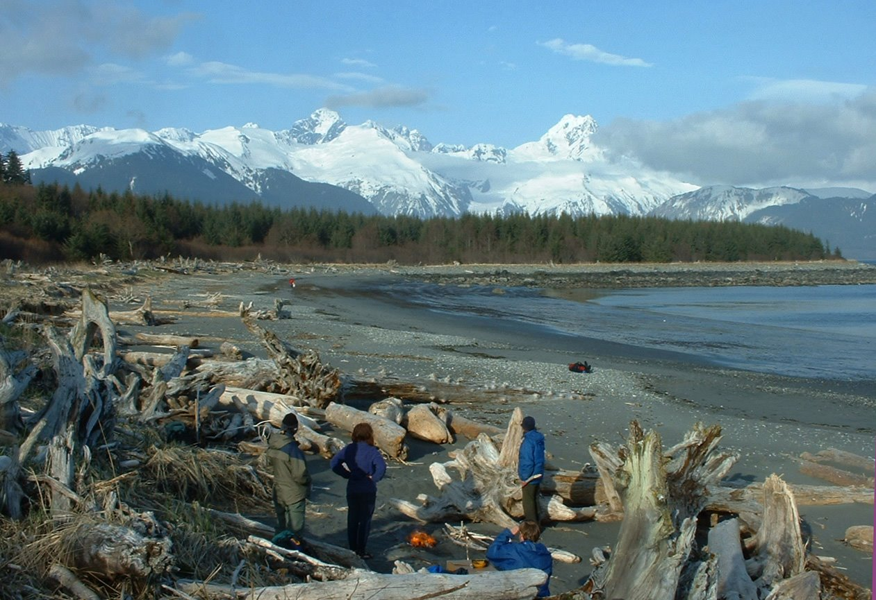 Camp between Fairweather Mountain and the Gulf of Alaska.