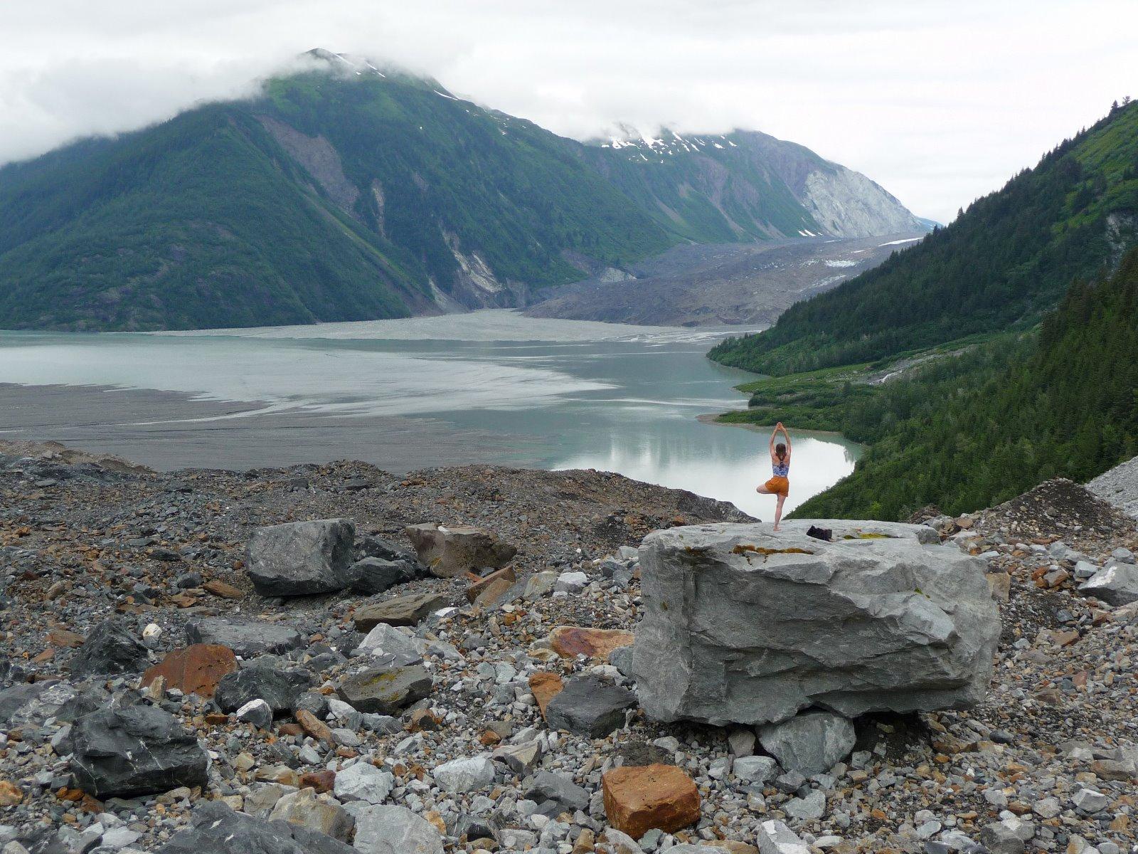 North Crillon Glacier covered with rocks.