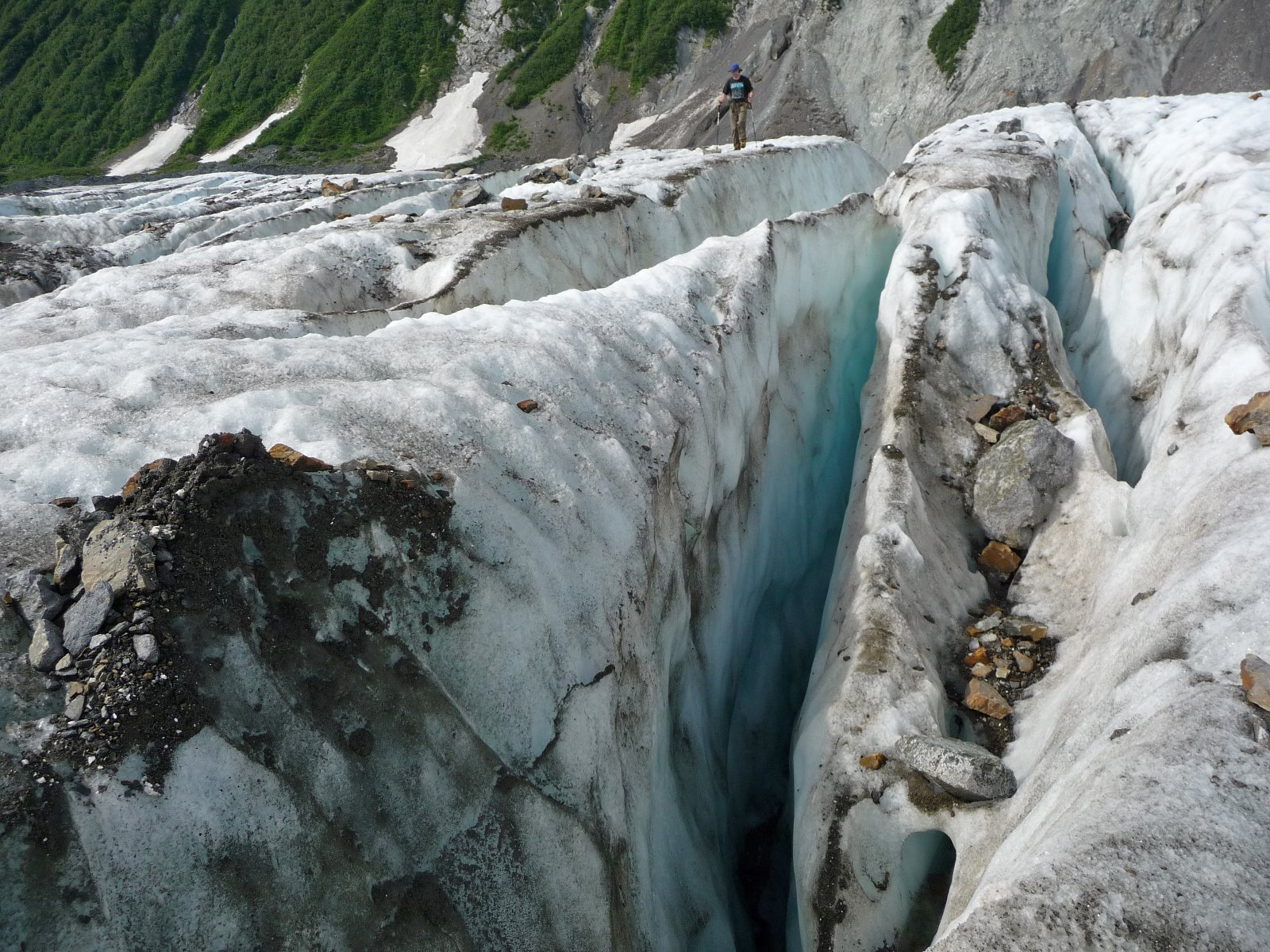 Rocks building up on moving glaciers.