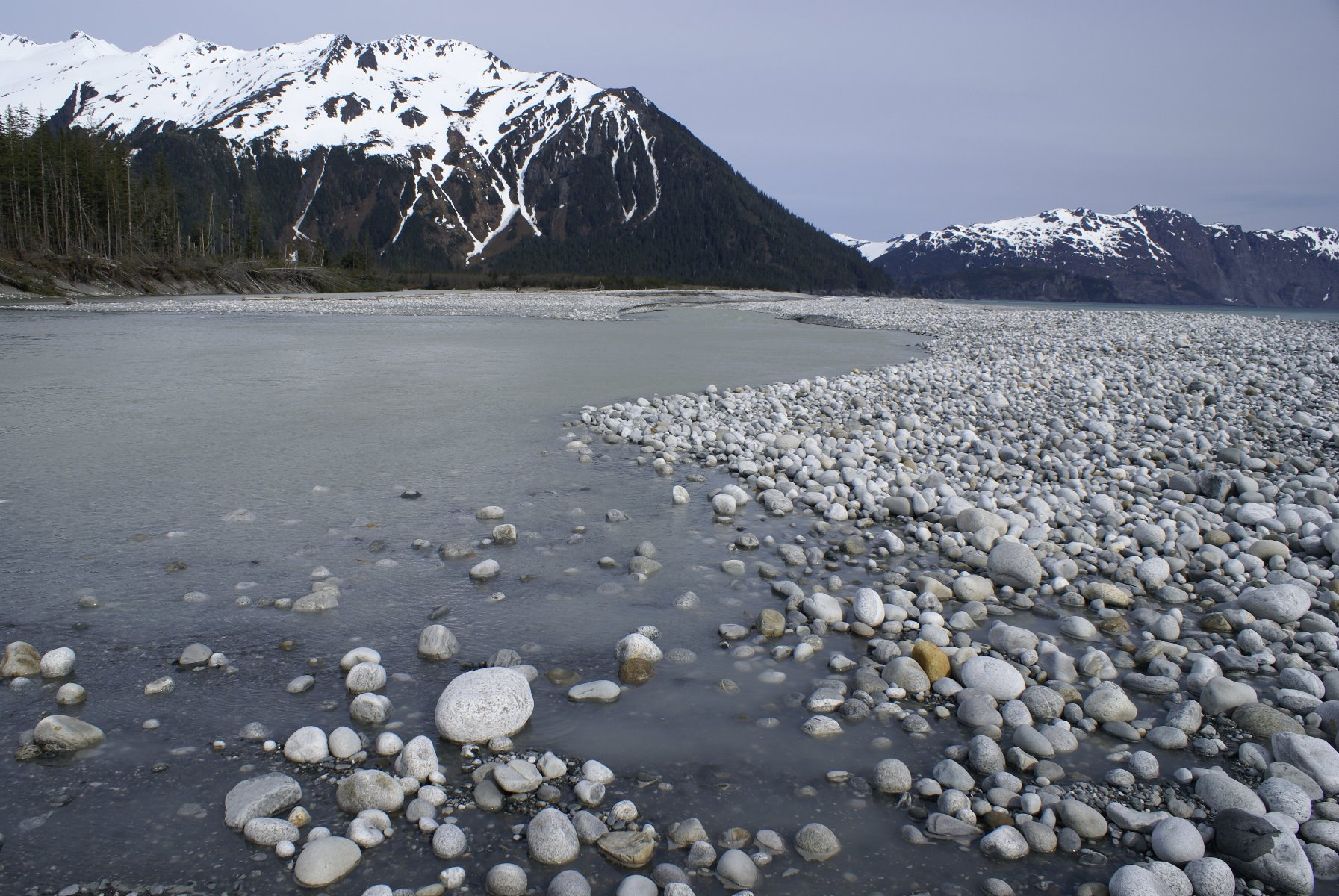 Cobble and boulder beaches on the outer edge of Glacier Bay National Park.