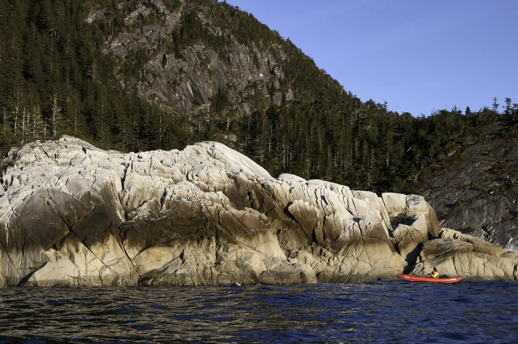 These outer coast headlands of hard granite-like rock are infrequently visited by kayakers.
