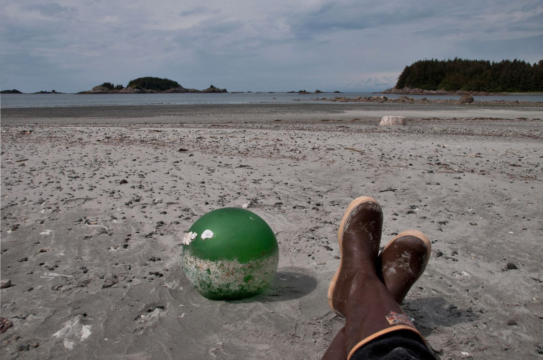 Before the days of plastic fishing floats, glass balls were sometimes used to suspend large fishing nets.  Most glass floats found in Alaska are apparently from Japanese fishing vessels.