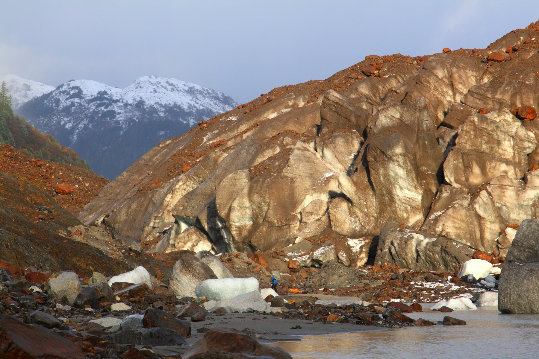 Brady Glacier - As the ice retreats, it provides a narrow passage to walk along its side.