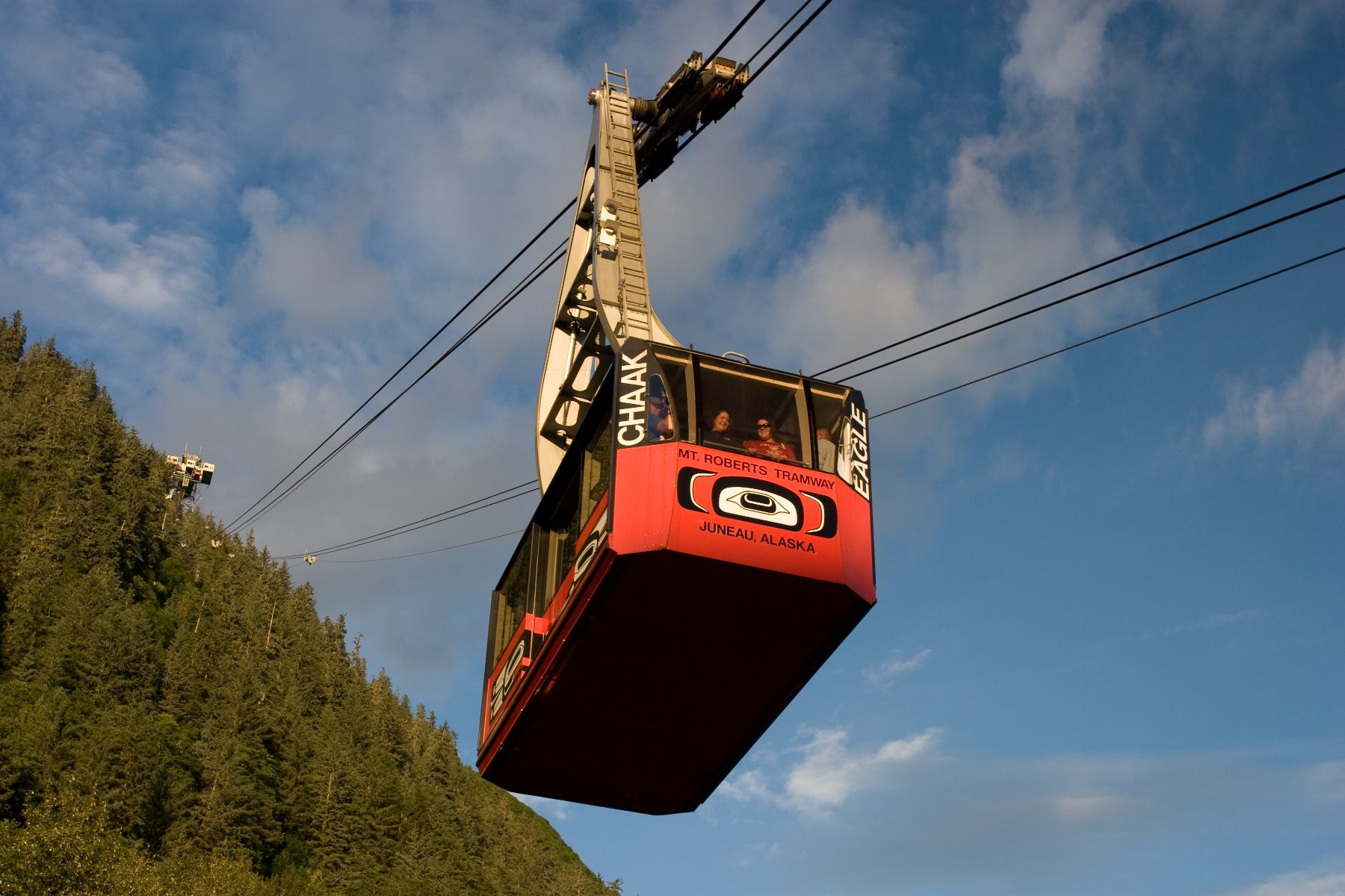 Juneau tram- a six-minute ascent of 3,819-foot (1,164 m) Mt Roberts.