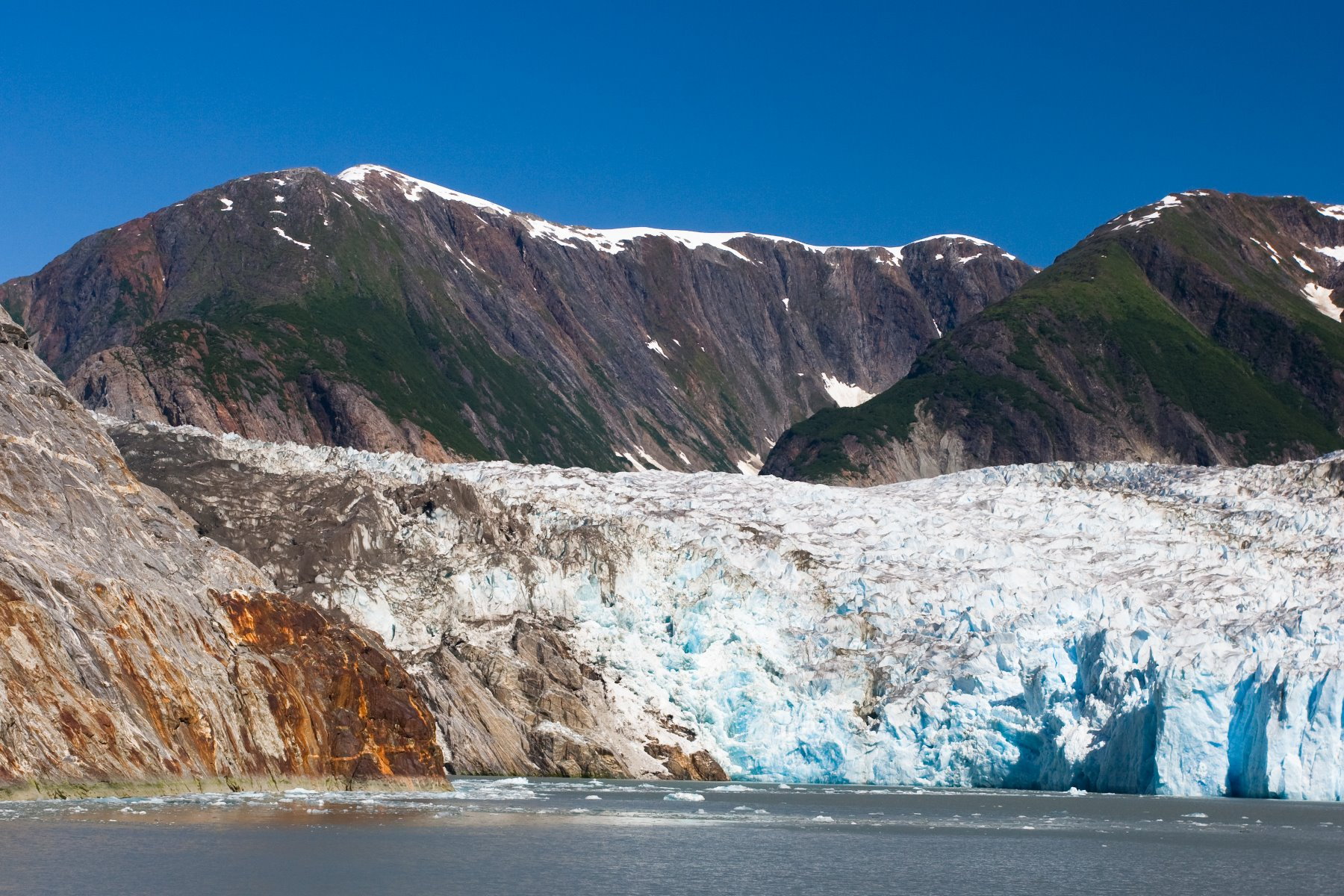 Tracy Arm Glacier - the rusty red is oxidized iron.
